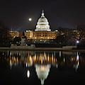 Digital Liquid - Full Moon At The Us Capitol by Metro DC Photography