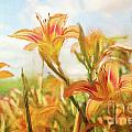 Digital Painting Of Orange Daylilies by Sandra Cunningham
