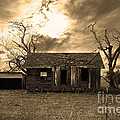 Dilapidated Old Farm House . 7d10341 . Sepia by Wingsdomain Art and Photography