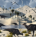 Dinosaurs Gather At A Life Saving Oasis by Mark Stevenson