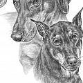 Dober-friends - Doberman Pinscher Dogs Portrait by Kelli Swan