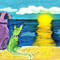 Dog And Cat Sunset by Paintings by Gretzky