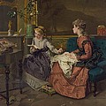 Domestic Scene With Two Girls, One by Everett