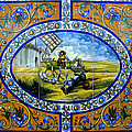 Don Quixote In Spanish Tile by David Lee Thompson