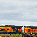 Double Bnsf Engines by Randy Harris