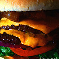 Double Cheeseburger With Bacon - Painterly by Wingsdomain Art and Photography