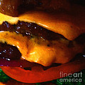 Double Cheeseburger With Bacon - Square - Painterly by Wingsdomain Art and Photography
