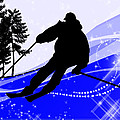 Downhill On The Ski Slope  by Elaine Plesser