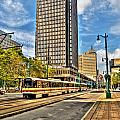 Downtown Buffalo Metro Rail  Heading To The Erie Canal Harbor by Michael Frank Jr