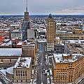 Downtown Court St Winter Scene by Michael Frank Jr