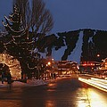 Downtown Jackson Hole At Night by Jim Webb