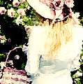 Dreamy Cottage Chic Girl Holding Basket Roses by Kathy Fornal