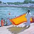Drying Sari Pushkar  by Andrew Macara