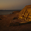 Dusk Descends On Abu Simbel With Lake by O. Louis Mazzatenta