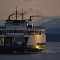 Early Morning Ferry Leaves Seattle by Phil Schermeister
