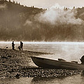 Early Morning Fishing On Scotts Flat Lake In Sepia by Sally Bauer