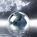 Earth Globe Reflection by Mike Agliolo and Photo Researchers