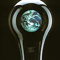 Earth In Light Bulb  by Garry Gay