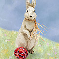 Easter Bunny With A Painted Egg by Louise Heusinkveld