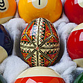 Easter Egg Among Pool Balls by Garry Gay