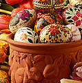 Easter Eggs In Flower Pot by Garry Gay