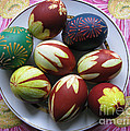 Easter Eggs. Plant Print And Wax Drawing. by Ausra Huntington nee Paulauskaite