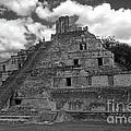 Edzna Pyramid Climber Campeche Mexico by John  Mitchell