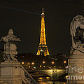Eiffel Tower And The Seine River From Pont Alexandre At Night by Louise Heusinkveld