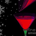 Electric Red Cocktail With Snowflakes by Anne Kitzman