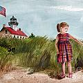 Ella At East Point Light by Nancy Patterson