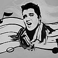 Elvis In Black And White by Rob Hans