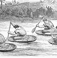 England: Coracle Race, 1881 by Granger