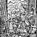 Engraving Of Wheel Manufacture In The 16th Century by