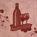 Enjoying Red Wine  Painting With Red Wine by Georgeta  Blanaru