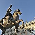 Equestrain Statue Of Emperor Marcus Aurelius In Piazza Del Campidoglio.capitoline Hill. Rome. Italy. by Bernard Jaubert