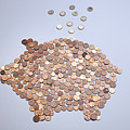 Euro Coins Falling Into A Piggy Bank Made From Arranged European Coins by Larry Washburn