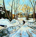 Evening Winter Walk Streets Of Montreal After The Snowstorm by Carole Spandau
