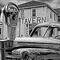 Expired A Black And White Photograph Of A Tavern Parking Meters And Vintage Junk Auto by Randall Nyhof