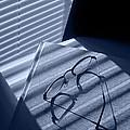 Eye Glasses Book And Venetian Blind In Blue by Randall Nyhof