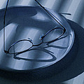 Eye Glasses On A Plate In Blue by Randall Nyhof