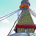 Eyes Of The Boudhanath Stupa  Nepal by Louise Peardon