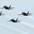 Fa-18a Hornets Fly In A Pyramid by Stocktrek Images