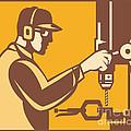 Factory Worker Operator With Drill Press Retro by Aloysius Patrimonio