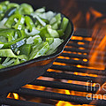 Fajita Cast Iron Skillet With Green Peppers Sizzling Hot by Andre Babiak