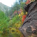 Fall Peeks From Behind The Rocks by Heather Kirk