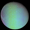 False Color View Of Saturns Moon Dione by Stocktrek Images