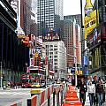Amidst Color And Construction In Times Square by Lorraine Devon Wilke