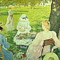 Family In The Orchard by Theo van Rysselberghe