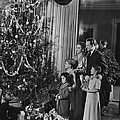 Family With Three Children (4-9) Standing At Christmas Tree, (b&w) by George Marks