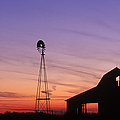 Farm At Sunset by David Davis and Photo Researchers